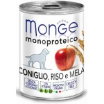 Monge Dog Monoproteico Fruits Консервы для собак паштет из кролика с рисом и яблоками 400 г